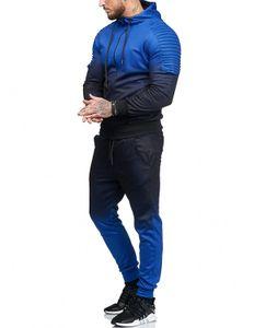 Mens Designer Gradiente Fatos de Treino Azul Verde Plissado Hoodies Elásticos Soltos Corredores Ativos Homem 2 pcs Frete Grátis