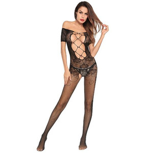 Women's Lace Perspective three-point sexy lingerie tight-fitting milk open file super sexy one-piece mesh clothing Siamese Stockings