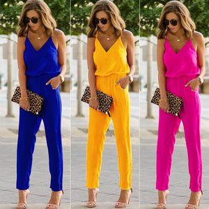 Sexy Frauen Schulterfrei Jumpsuit Spaghetti Strap breite Beine Bodycon Jumpsuit 3 Farben Solide Strampler Hose