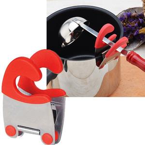 Paslanmaz Çelik Tava Kenar Klip Cook Pot Yan Kelepçe Kaşık Spatula Istirahat Tutucu Pot Raf Mutfak Eşyası Alet