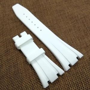 26mm / 18mm Blanc de haute qualité bande de sangle en caoutchouc de silicone pour AudemarsPiguet Royal Oak Watch