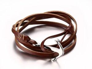 Envío de la gota a estrenar acero inoxidable de calidad superior pulsera de ancla de cuero genuino hombres piel de vaca pulsera brazaletes vendedor de la fábrica 144