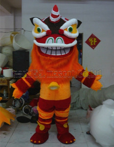 El traje adulto de la mascota de la danza del león tamaño libre del envío, fiesta de lujo del carnaval del juguete de la felpa de la mascota del león celebra ventas de la fábrica de la mascota.