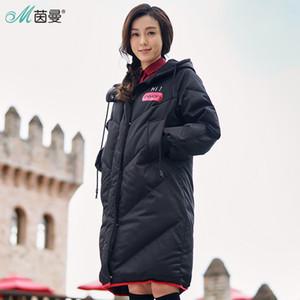INMAN 2018 Hooded Printing Leisure Ladies Donna Ragazza inverno lungo anatra giù cappotto caldo in pelle donna Giacche moda soprabito