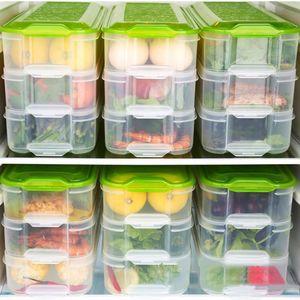 Boîte de conservation des fruits de mer multicouche en plastique boîte de conservation des fruits de mer Rectangle de cuisine réfrigérateur boîte réfrigérée avec couvercle 31 * 12.5 * 16.5cm