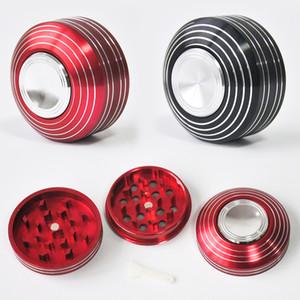 Fidget Spinner Spinning Herb Grinder 53 MM Metal Aluminio 3 capas Mano trituradora de tabaco Herb Grinder Accesorios para fumar envío gratis