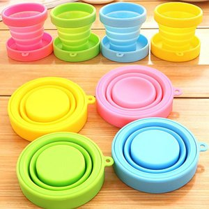 1pc Portable Silicone Folding Water Cup Candy Color Silicone Traveling Foldable Cups For Travel Outdoor Camping Drinkware