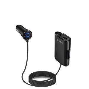 QC 3.0 빠른 충전기 뒷 자리 클립 자동차 충전기 5.6 인치 케이블 4 USB 포트 5V 9V 12V 아이폰 XS 최대 갤럭시 30PCS / LOT