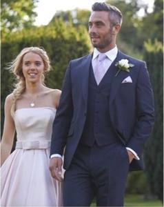 Venda quente 2019 Azul Marinho Slim Fit Casamento Smoking Noivo Smoking (Jacket + Pants + Jacket) Melhores Homens Ternos Groomsmen Ternos Custom Made