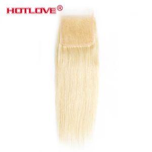 Hotlove Hair Color 613 Blonde Top 레이스 클로저 스트레이트 웨이브 Brazilian Virgin Hair 스위스 레이스 클로저 4 * 4 Free Part Honey Blonde