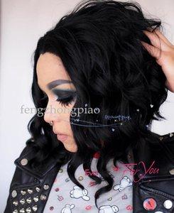 FZP Nuevo Negro Simulación Peluca de Pelo Humano 12 pulgadas de Alta Calidad Moda pelucas NUEVO Señoras Chica Curly Negro peluca de las mujeres del pelo natural