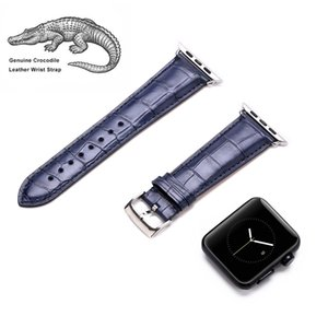 Luxury Genuine Alligator Leather for Apple Watch Strap Replacement With Stainless Steel Adapter Clasp for Apple Watch S1 S2 S3 42MM Sea Blue