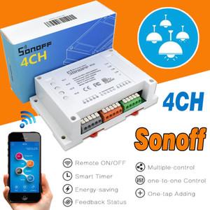 Sonoff 4CH Wi-Fi Smart Switch Универсальный Пульт Дистанционного Интеллектуального Переключателя Прерыватель 4-канальный Din-рейку Монтаж Умный Дом Wi-Fi Переключатель Через Android