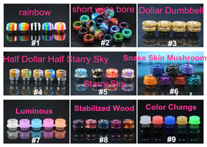 2018 Newest 810 Resina Drip Tip Colorful Rainbow Honeycomb Drip Tips Legno stabilizzato Dollar Style per TFV8 TFV12 TFV8 Big Baby
