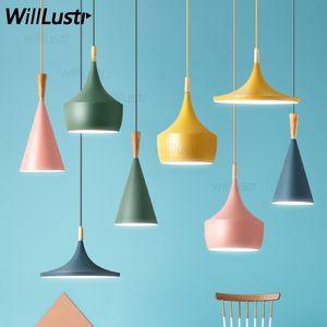 NEW Willlustr Macaron цвета бить свет подвесного светильник инструмента подвесного света в гостиницу зал ресторан столового бар кафе висит освещение