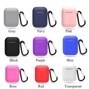 Silicone Carrying fone Caso for Cover da Apple Airpods Air Pods pele luva Bolsa Box Protector sem fio Earpods Auscultadores com mosquetão