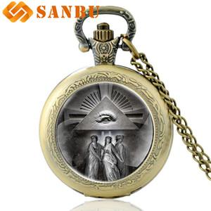 Reloj de bolsillo de cuarzo masónico de plata de la vendimia Hombres retros Mujeres Eye of Providence Colgante de collar de joyería antigua