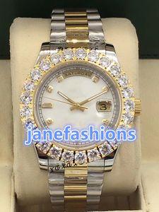 Prong Set Diamond Luxury Fashion Watches Bi-Golden Stainless Steel famoso reloj de pulsera automático mecánico de los hombres de deportes reloj de pulsera
