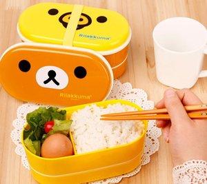 2 Style Relax Bear Bird Heat Preservation Cute Lunch Box Rilakkuma Bento With Chopsticks Lunch Preservation Box