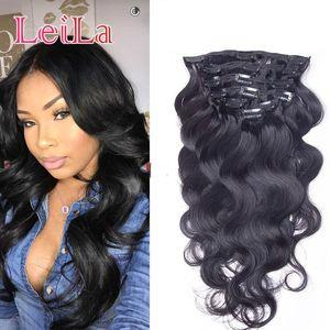 Brazlian Body Wave Clip in Hair Extensions 10pieces / set 100-120 / g غير المجهزة مقطع الشعر البشري في اللون الطبيعي العذراء