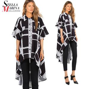 2018 Women Summer Black White Blouse Shirt Half Sleeve Long Back Geometrical Pattern Printed Girls Plus Size Feminine Shirt 3656