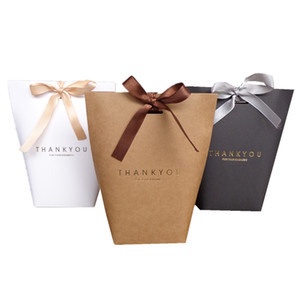 200pcs Merci grazie dono scatola di cottura sacchetto di carta di monili scatola con il pacco regalo arco commerciale Festival partito fornisce 13.5X16.5cm DHL