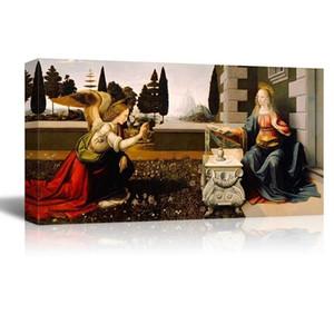 La Anunciación de Leonardo Da Vinci Pintura HD pintada a mano de alta calidad Retrato clásico Pintura al óleo sobre lienzo.Multi tamaños p335