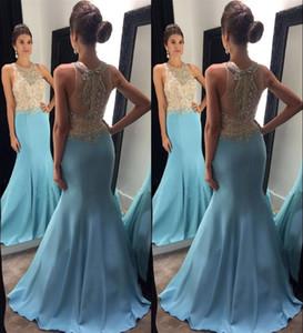 Abiti da sera azzurri prom dresses Perline di cristallo con sirena abiti da sera formale Bling Bling Girls Pagenat Dress