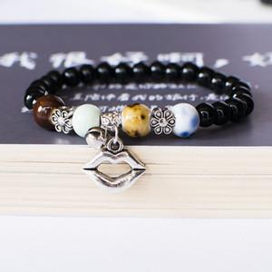 Jolis Bracelet Perle Déclaration Couleur Argent Bracelets Chain Link Bangle Bijoux Bracelets Charms bouche