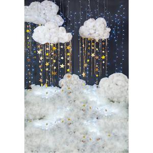 Twinkle Twinkle Little Star Toile de fond pour la photographie Imprimé des paillettes 3D Nuages blancs Nouveau-né Bébé Enfants Photo Studio Milieux