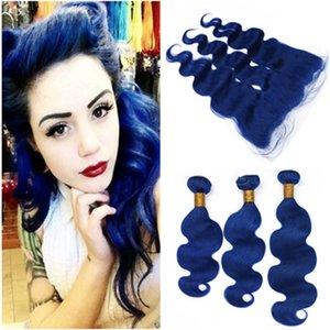 Vague de corps Pure Blue Indien Weave Bundles de cheveux avec Frontal Dark Blue Extensions de trame de cheveux de Vierge avec Lace Front Front Fermeture 13x4