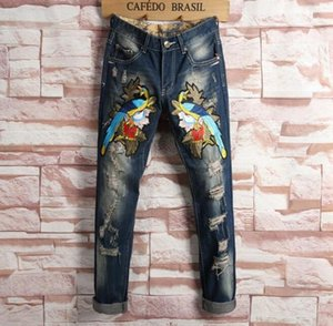 Embroidery Floral Tiger Bird Print Design Mens Ripped Jeans Slim Denim Pencil Pants Hommes Blue Straight Biker Jeans Long Trousers