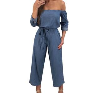 Moda feminina Sólidos Sem Alças Longas Calças Casuais Jumpsuit gloria jeans grandes tamanhos calças para mulheres C30815