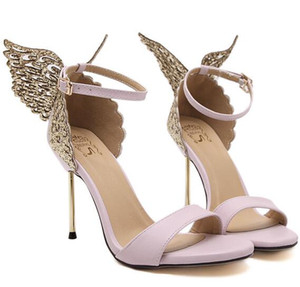 Women Sandals 3D Butterfly Wing Embroidery Sandals High Heel Shoes Woman Pumps Metallic Stiletto Wedding Party Dress