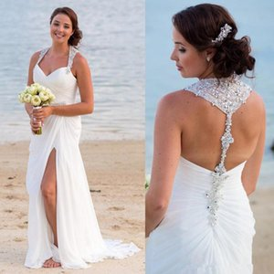 2018 New Sexy Side Split Ruched Chiffon Beach Wedding Dresses with Beaded Halter Neck Backless summer holiday seaside Bridal Wedding Gowns