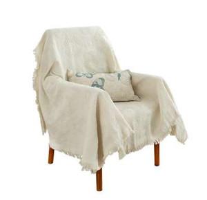 Rosa Beige Muebles Fundas de sofá para la sala de estar Toallas de sofá para la butaca de punto Plaid Throw Blanket Ropa de cama Mantel