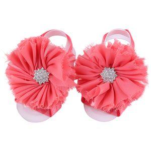 Fast Ship! Toddle Baby Feet Fiore Crystal Barefoot Ties Chiffon Fiore scarpe da polso cravatte da bambino Primi Walker Shoes Bambino Fotografia Puntelli F9