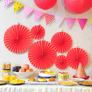 Wholesale 6 Pcs Set Red Tissue Paper Cut-out Paper Fans Pinwheels Hanging Flower Paper Crafts for Baby Showers Free Shipping