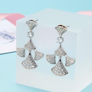 Mujeres Aretes Plata Marca Joyería Bling Cubic Zirconia S925 Pendientes de Ventilador Pendientes de Diamante Completo Studs Envío Gratis