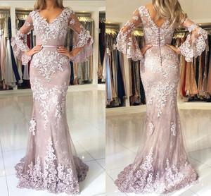 Allık Pembe 2019 Yeni Moda Dantel Mermaid Gelinlik Modelleri V Yaka Uzun Kollu Backless Zarif Formal Elbise Akşam Giyim vestidos