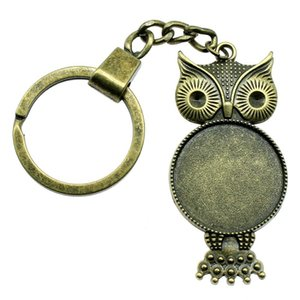 6 Pieces Key Chain Women Key Rings For Car Keychains With Charms Owl Single Side Inner Size 25mm Round Cabochon Cameo Base Tray Bezel Blank