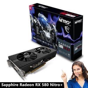 الياقوت راديون نيترو + RX بطاقة 580 فيديو RX580 8G DDR5 بطاقة رسومات DirectX12 2304SP 1340 / 7000MHz PK RX570 RX480 1060 GTX