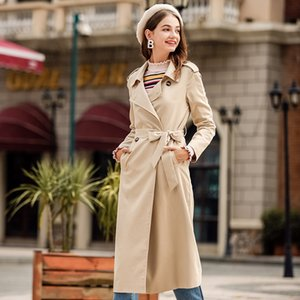 2018 Autumn New Women's Double-Breasted Trench Coat S-XL Women Casual Long Coat Trench Coat Ladies Windbreaker