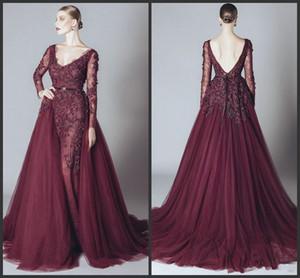 Formal Celebrity vestidos de noche sin espalda cuello en V manga larga de 2020 nuevos vestidos de partido árabe Borgoña vestido de los vestidos baratos de baile elegante de encaje