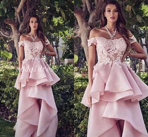 Pink High Low Prom Dresses 2019 Off Shoulder Backless Apliques Sweep Train Arabic Vestidos de fiesta de noche formal Vestido para ocasiones especiales