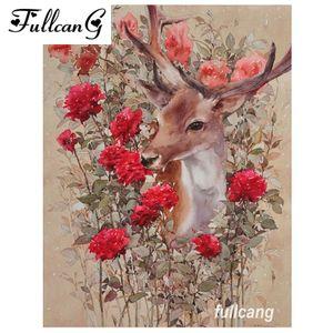 FULLCANG DIY voller quadratische Diamant-Stickerei rote Blumen und Hirsche Diamant Malerei Kreuzstich Kits Mosaik 5d Hand D556