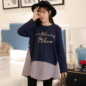 Letter Print Patchwork Cotton Maternity T-shirt Autumn Fashion A Line Loose Clothes for Pregnant Women Pregnancy Tops