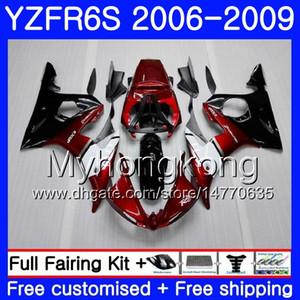 Cuerpo para YAMAHA negro caliente YZF R6 S R 6S Rojo oscuro YZF600 YZFR6S 06 07 08 09 231HM.6 YZF-600 YZF R6S YZF-R6S 2006 2007 2008 2009 Fairings Kit