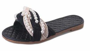 새로운 브랜드 샌들 여성 플랫 슬리퍼 워프 문자열 디자이너 진주 비치 샌들 숙녀 여자 신발 여름. 무료 배송