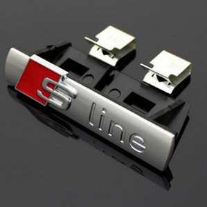 3D S-Line Sline Front Grille Emblema Badge Chrome Plastica ABS ABS Front Grille Sticker Accessori per Audi A1 A3 A4 B6 B8 B5 B7 A5